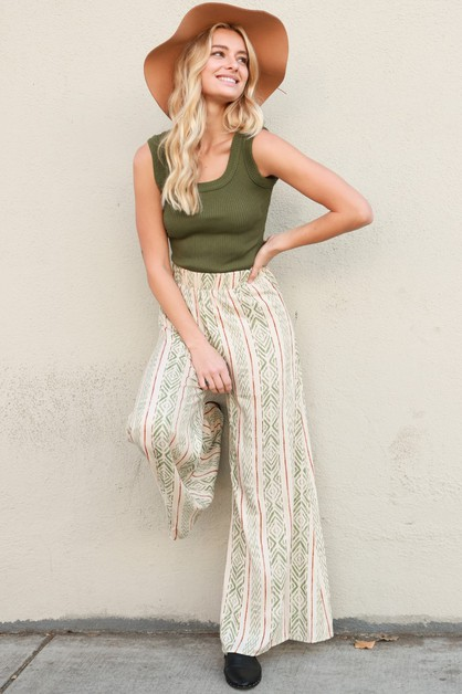 High Waist Flare Wide Leg Pants - orangeshine.com