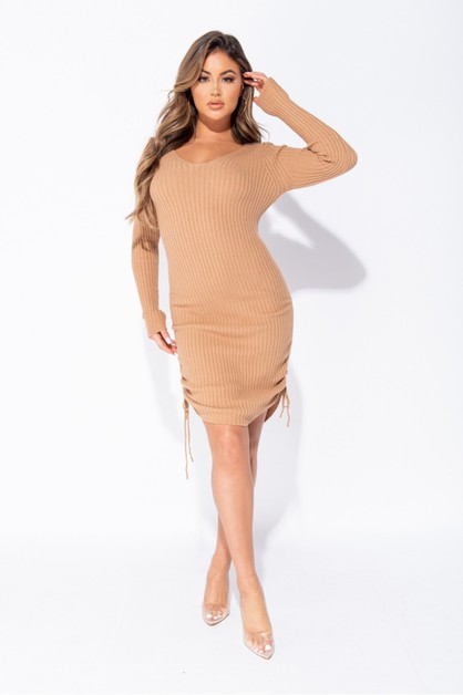 Ruched Side Knitted Dress - orangeshine.com
