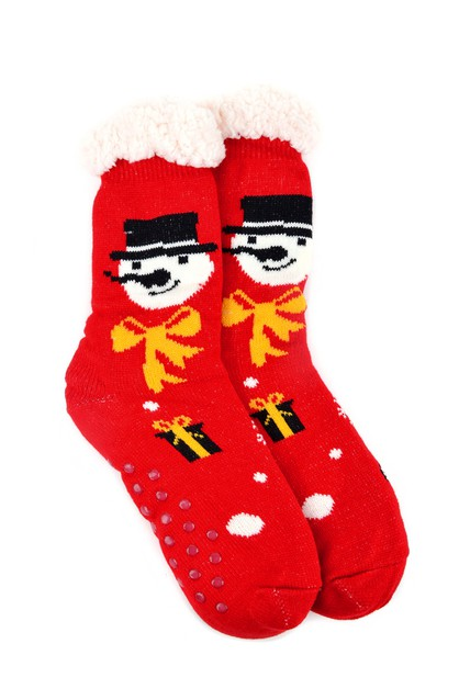 Womens Snowman Sherpa Winter Socks - orangeshine.com