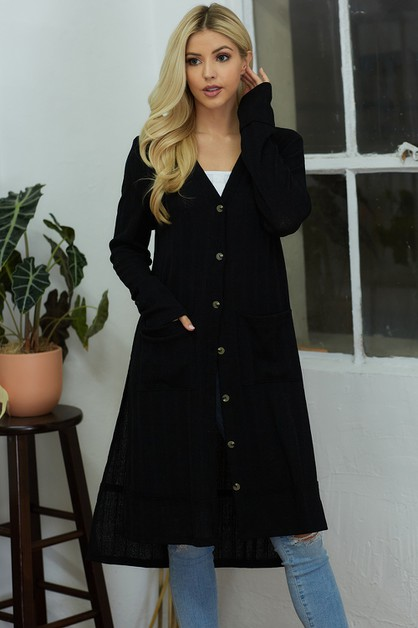 Long Body Cardigan with Buttons - orangeshine.com