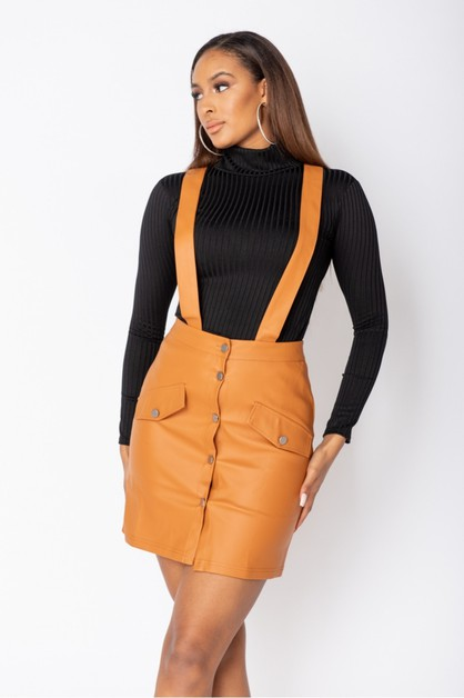 Faux Leather Pinafore Dress - orangeshine.com