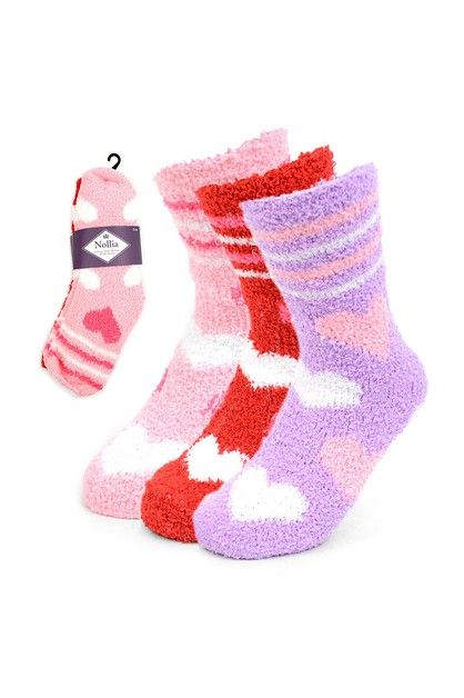 Assorted Womens Heart Fuzzy Socks - orangeshine.com