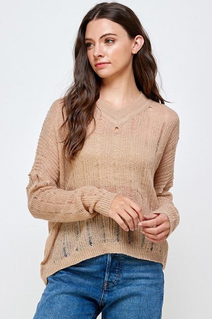 ACRYLIC SEE THROUGH SWEATER - orangeshine.com