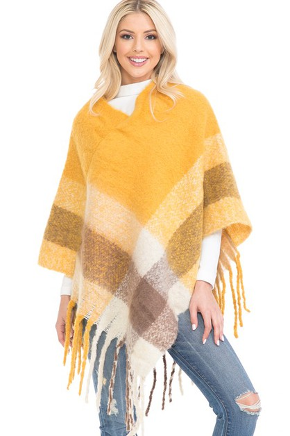 PLAID V-NECK PONCHO WITH FRINGES - orangeshine.com