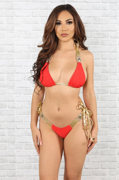 Gold strap two piece swimsuit - orangeshine.com