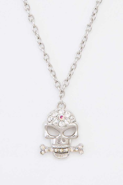 Crystal Skull Pendant Necklace - orangeshine.com