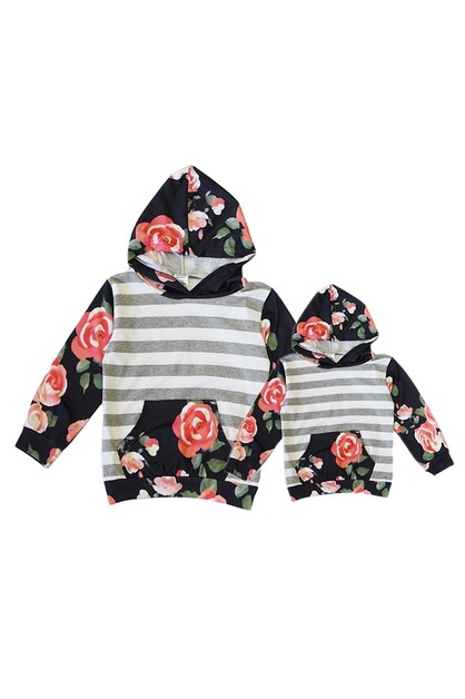 Floral stripe mommy me hoodie shirt - orangeshine.com