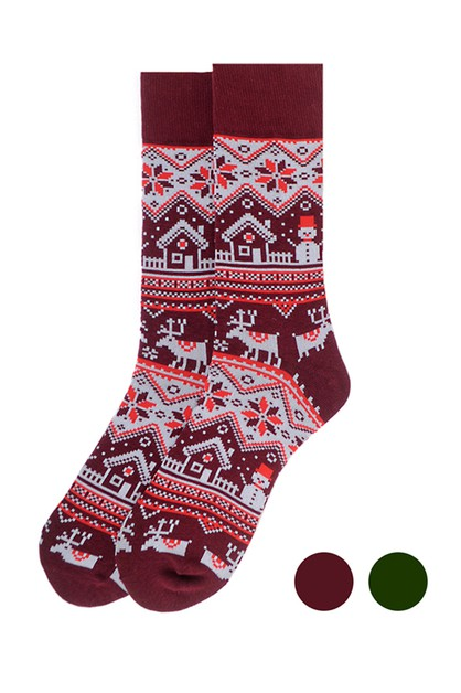 Mens Vintage Winter Pattern Socks - orangeshine.com