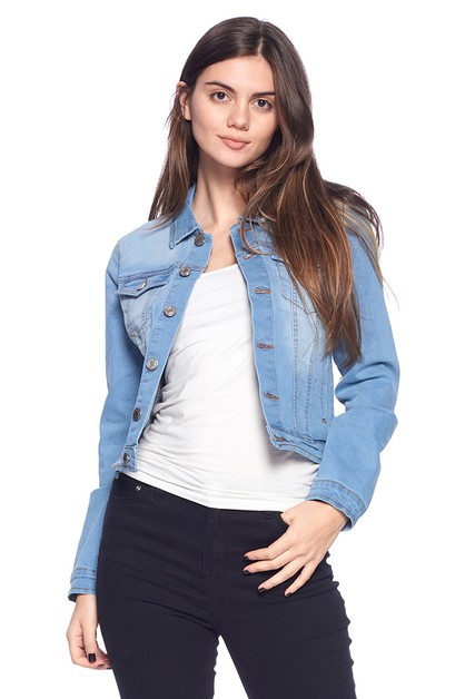 DENIM STRETCH JACKETS SOLID WASHED - orangeshine.com
