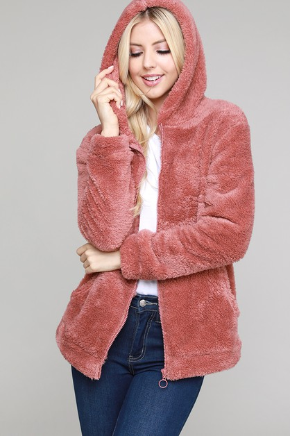 Faux Fur Teddy Zip Up Hoodie Jacket - orangeshine.com