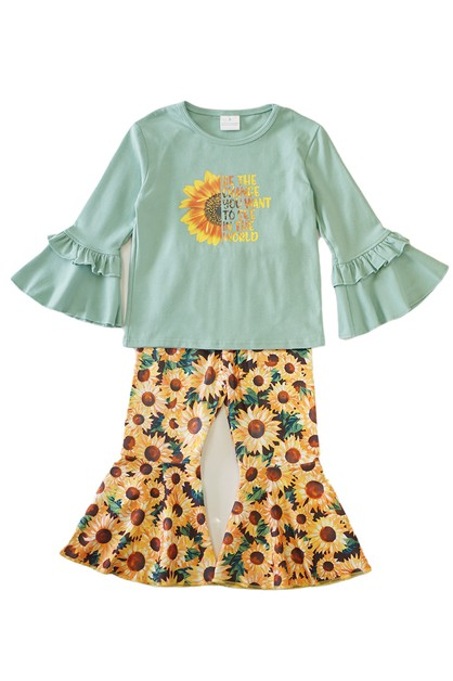 Sunflower mint tunic with bell pants - orangeshine.com