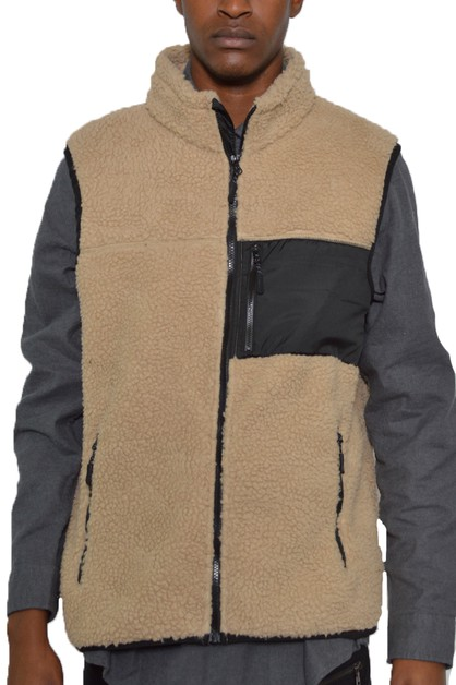 Sherpa Fleece Sleeveless Vest - orangeshine.com