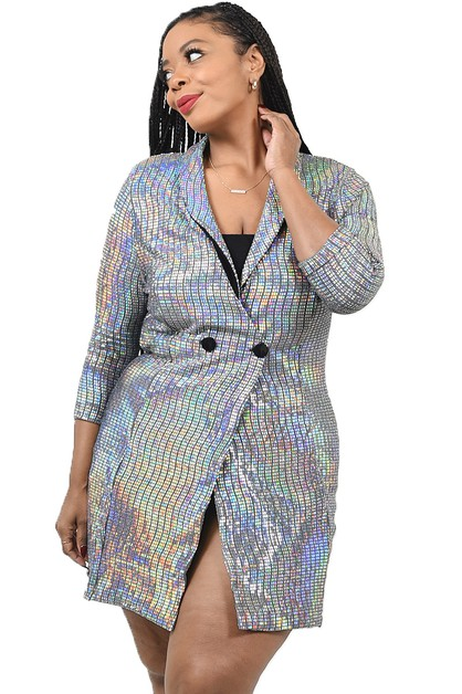 PLUS DISCO METALLIC JACKET DRESS - orangeshine.com