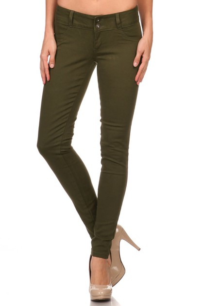Solid Low Rise Skinny jeans Pants - orangeshine.com