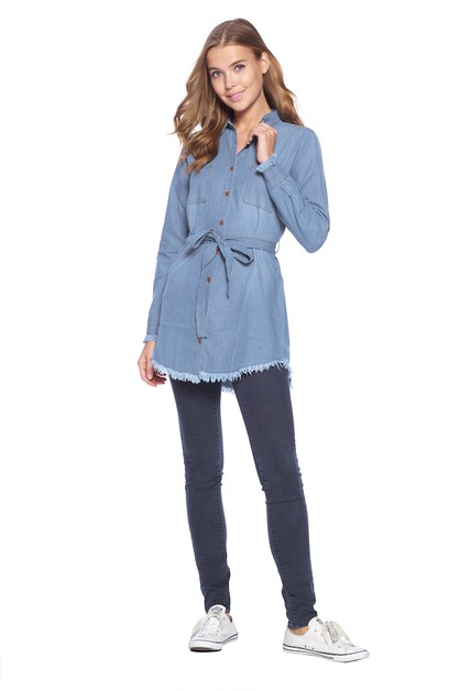 WOMEN CHAMBRAY TOP DENIM BLOUSE - orangeshine.com