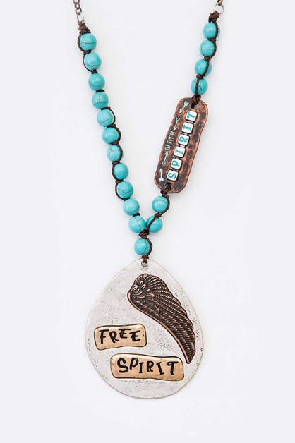 Free Spirit Mix Media Beaded Pendant - orangeshine.com