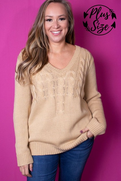 Long Sleeve V-Neck Knitted Sweater - orangeshine.com