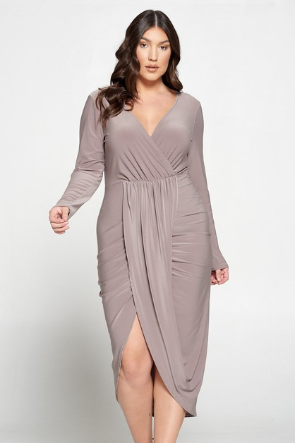 NEW LS SURPLICE-TULIP MAXI DRESS - orangeshine.com