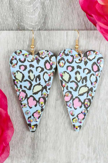 Heart Leopard Gem Earrings - orangeshine.com