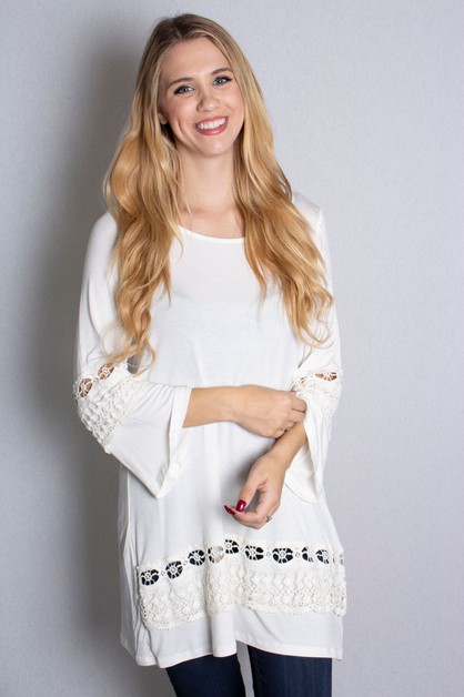 Bell Sleeve Top with Crochet Detail - orangeshine.com