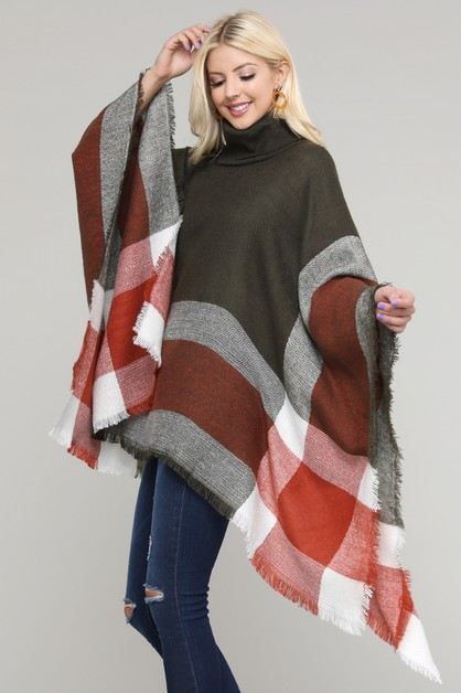 Turtleneck Pullover Fringed Poncho - orangeshine.com