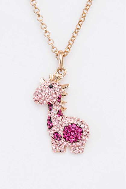 Crystal Giraffe Pendant Necklace - orangeshine.com