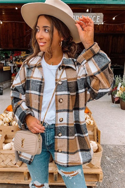 Women Plaid Shirt - orangeshine.com