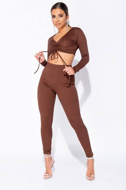 Rib Knit Ruched Cropped Set - orangeshine.com