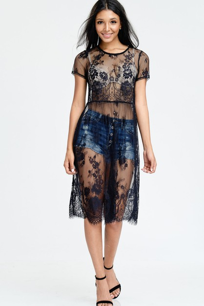 LACE MIDI DRESS SHORT SLEEVE SEE THR - orangeshine.com