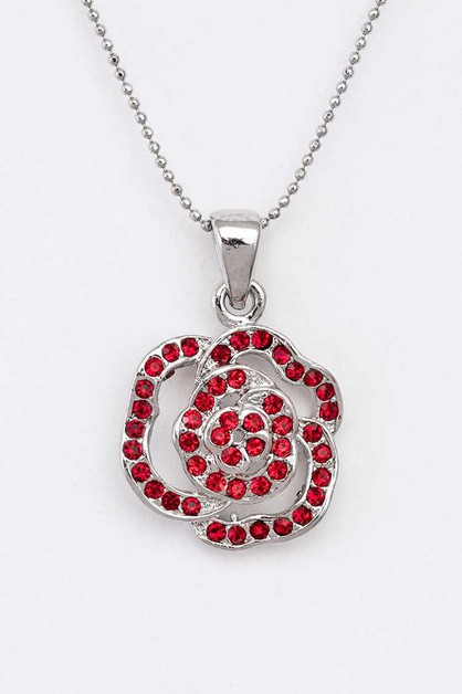 Crystal Rose Pendant Necklace - orangeshine.com