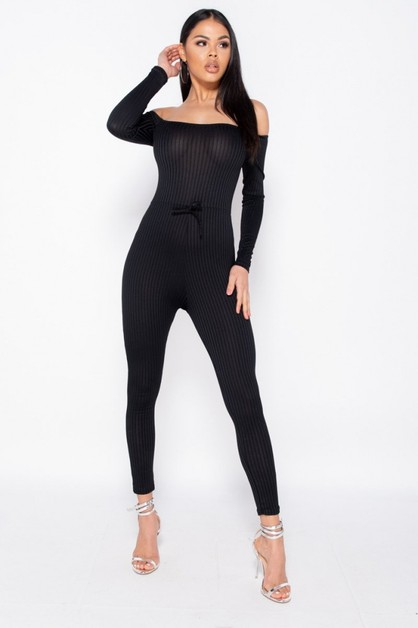 Rib Knit Long Sleeve Bardot Jumpsuit - orangeshine.com