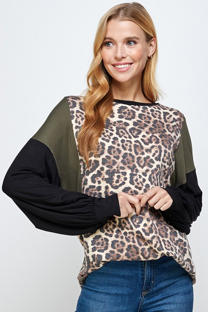 ANIMAL PRINTED CONTRAST LONG SLEEVE  - orangeshine.com