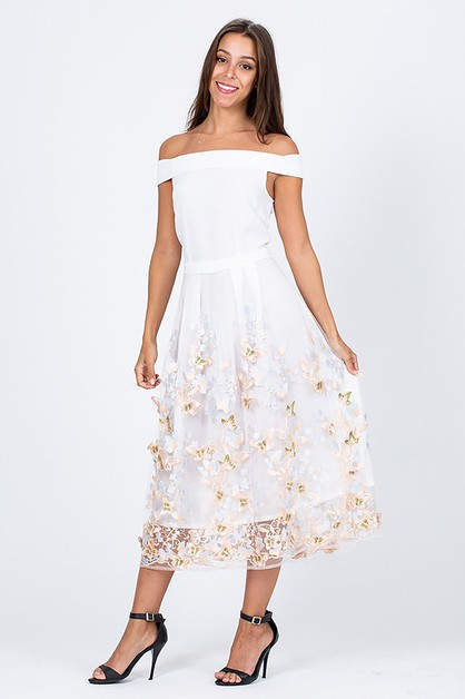 Floral  Butterfly Embroidered Midi  - orangeshine.com