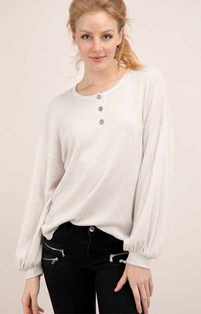 WAFFLE HENLEY TOP WITH BALLOON SLEEV - orangeshine.com