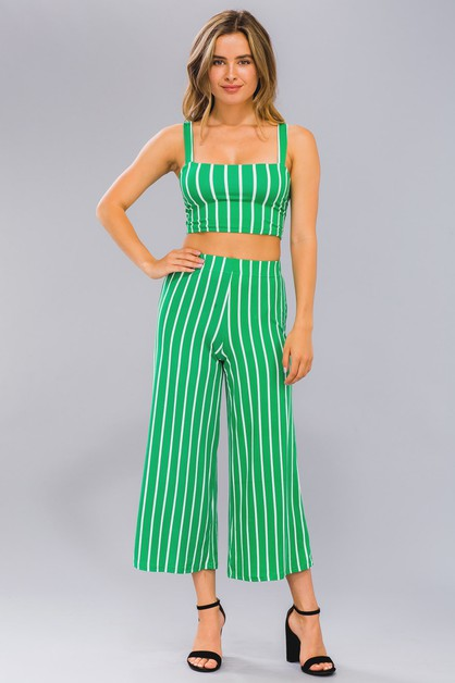 Striped Crop Top Wide Leg Pants Set - orangeshine.com
