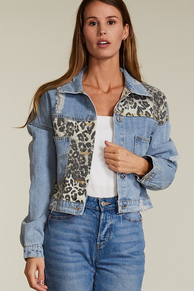 leopard denim jacket - orangeshine.com