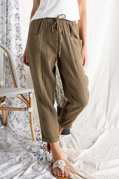 RELAXED FIT WOVEN PANT WITH DRAWSTRI - orangeshine.com