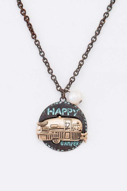 Happy Camper Pendant Necklace - orangeshine.com