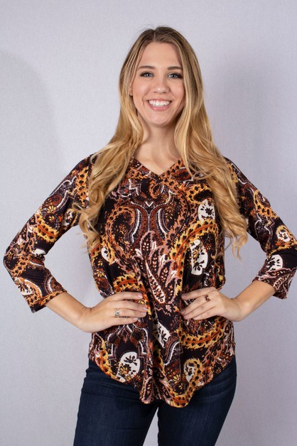 V-Neck with Paisley Print Top - orangeshine.com