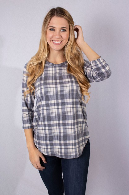 Round Neck Plaid Print Top - orangeshine.com