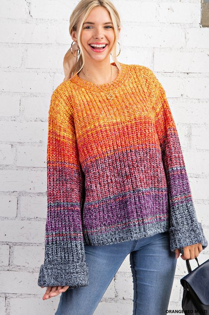 MULTI COLOR  MARLED RIBBED SWEATER - orangeshine.com