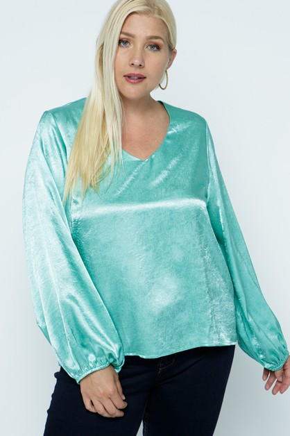 Satin Long Sleeve V Neck Top - orangeshine.com