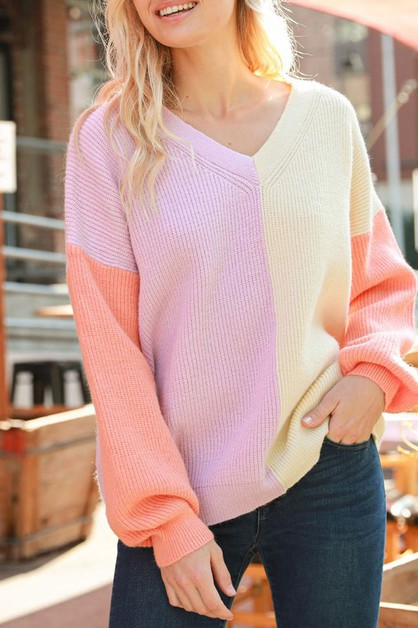 COLOR BLOCK V-NECK SWEATER - orangeshine.com