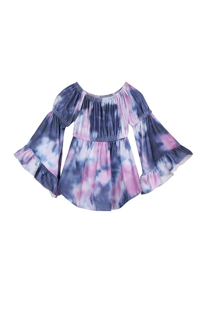 Purple navy tie dye bell sleeve tuni - orangeshine.com