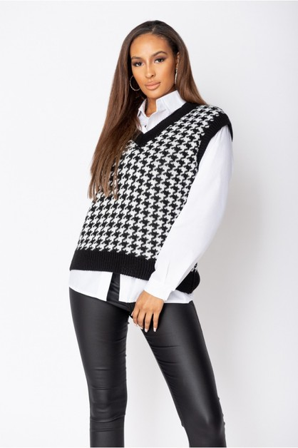 Houndstooth Check Knitted Top - orangeshine.com