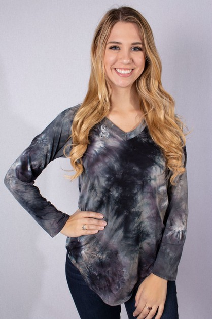 V Neck Tie Dye Top - orangeshine.com