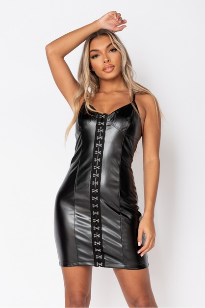 Faux Leather Eye Bodycon Strap Dress - orangeshine.com