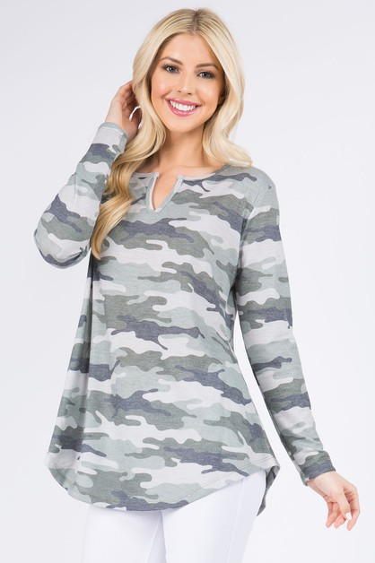 Slit Camo Print Tunic Top - orangeshine.com