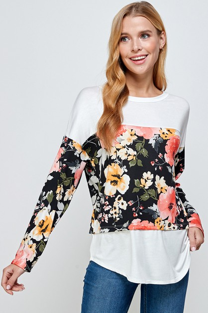 FLORAL PRINTED LONG SLEEVE TOP - orangeshine.com
