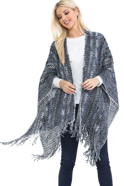 MULTI COLOR SWEATER PONCHO - orangeshine.com